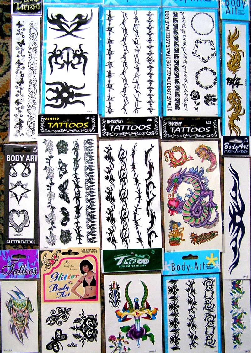 Татуировки брелоки бумажные пакеты